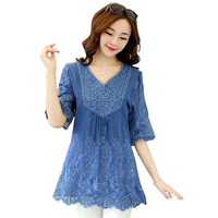 2017 Spring Summer Embroidery Large Size Loose Shirt Hook Flowers Hollow Half Sleeve V Neck Flax