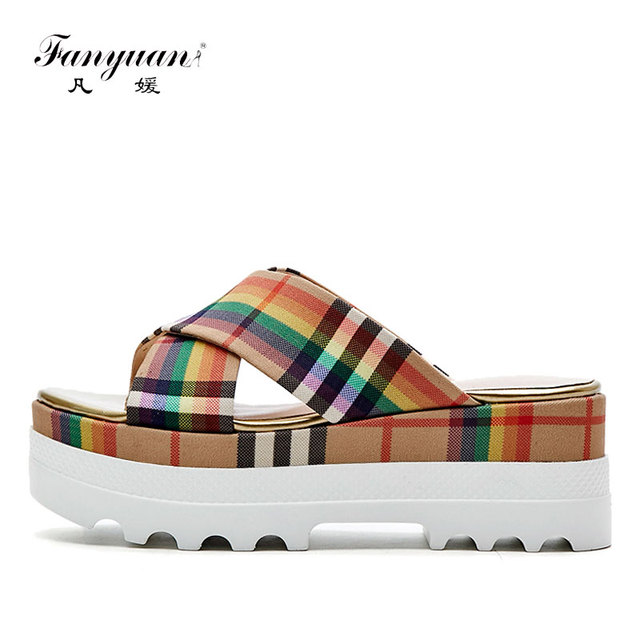 43d14dd131619 Fanyuan Women Slides Sandals Slippers New Summer Fashion Gingham Slides  Sandals Home Shoes Wedge Heels Beach Sandals Flip Flops