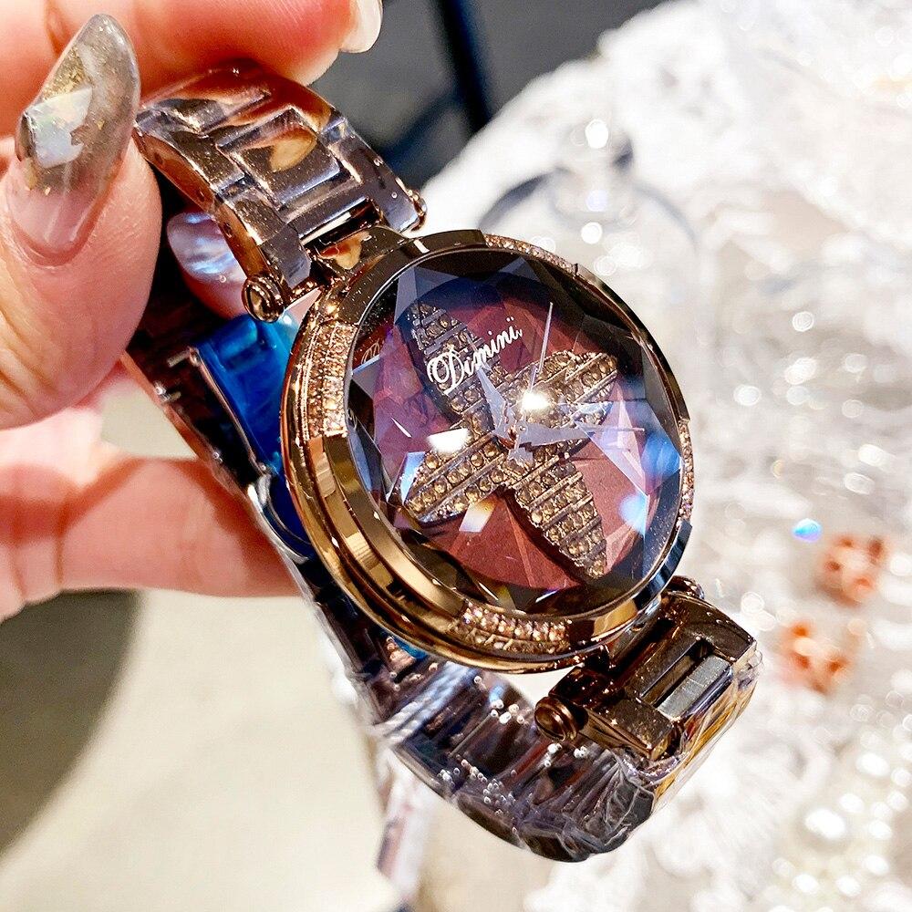 2019 Luxury Brand Lady Crystal Watch Rhinestone Women Dress Watch Fashion Quartz Watch Female Stainless Steel