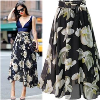 New Plus Size Women Chiffon Skirt Europe Fashion Bow Saia Midi Lining Jupe Femme Lace Up Falda Mujer Summer Print Floral Skirts 4