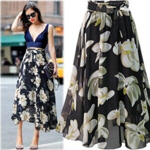 Image 4 - Saia de chiffon feminina, borracha de chiffon estampada com laço jupe femme plus size saias florais,