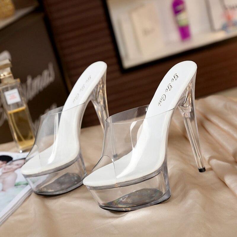 STAN SHARK Women Sandal Female Model T Station Catwalk Sexy Crystal Transparent Shoes 15CM High Heels Waterproof Head Sandals
