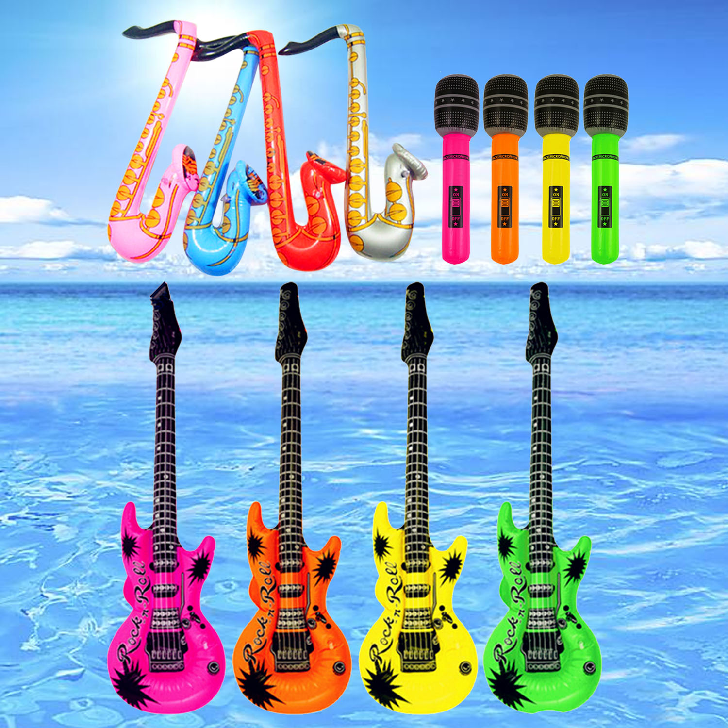 12pcs Colorful Inflatable Guitar Saxophone Microphone Piano Keyboard Musical Instruments Air Balloons Concert Party Decor Toy