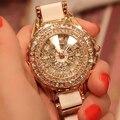 2015 НОВЫЙ женщины мода часы класса люкс Розовое золото кристалл алмаза браслет часы Керамические Ремешок платье часы женщины горный хрусталь часы