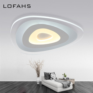 Image 4 - Triangle thin modern LED ceiling chandelier Creative arc triangle led lamp flush mount home lighting For Living Room Bedroom