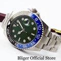 Модные BLIGER зеленый циферблат синий черный ободок с автоподзаводом Для мужчин  часы с сапфировым стеклом умственный ремень GMT Функция 40 мм