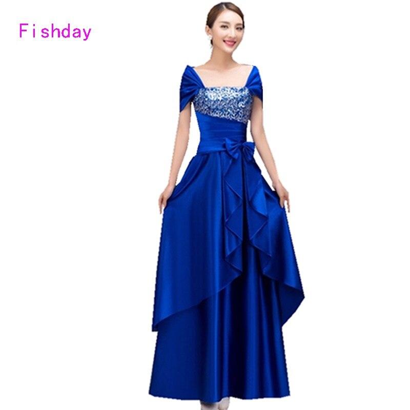 Cheap Long Red Satin Royal Blue Women Crystal Elegant