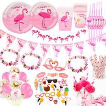 FENGRISE Pink Flamingo Decoration Birthday Hawaii Party Tropical Summer Hawaiian Wedding Disposable Tableware