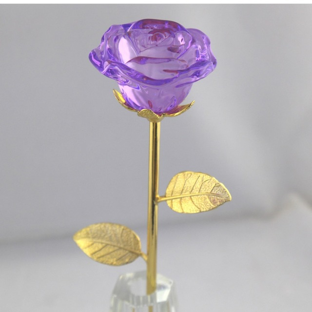 blooming purple crystal rose flower with vase best valentine's day, Ideas