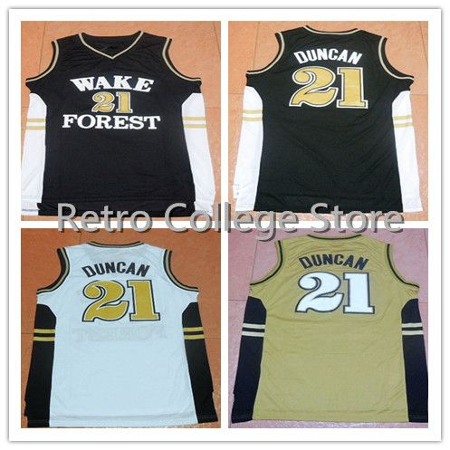 online store 6b737 f5104 #21 Tim Duncan Wake Forest College Retro Throwback Basketball Jersey  Embroidery Stitched US Size XXS-XXL