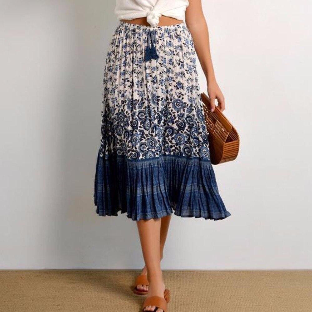 La curiosidad del pirata elegante de Boho falda de las mujeres de la vendimia impresión Elle Midi Faldas Beach Casual-2108