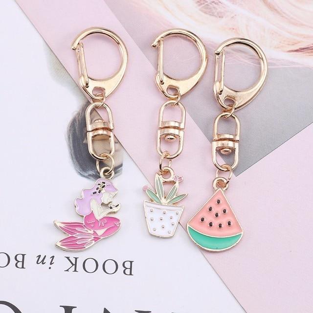 Anime Cartoon Cat Key Chains For Girl Women Cute Fox Mermaid Watermelon Pendants Key Ring Bag Pendant Lovely Jewelry Child Gifts 3