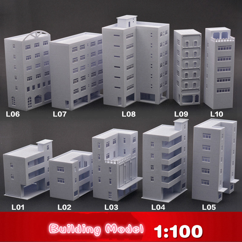 1:100 Building Model Material Up To Scene DIY Making The Assembled Building ABS Building