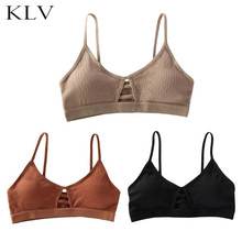 Womens Sexy V-Neck Thread Ribbed Bralette Solid Color Hollow Strappy Underwear Training Bra Wire Free Padded Sport Crop Top цены