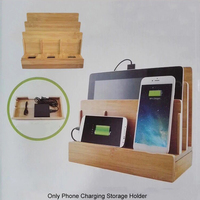 Tablets Device Wooden Bracket Multi Slot Organizer Travel Charging Storage Phone Holder Laptops Office Electronics Stand Home