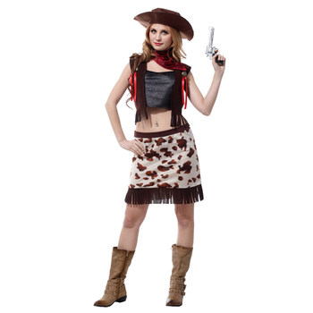 Cowboy Costume Adult Women Wild West Cow Girl Costumes for Teen Girls Halloween Purim Party Carnival Cosplay