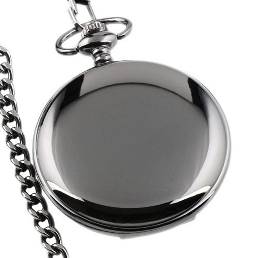 Vintage Unisex Quartz Pocket Watch Glass Lens Smooth Black Steampunk Pocket Watch Clock On The Chain Necklace Watch Gift