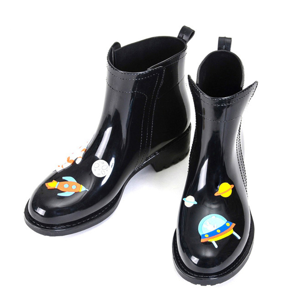 Image 3 - DRIPDROP Rain Boots for Women Waterproof Anti Slip Rainboots Girls Fashion Rubber Shoes Spaceship Cats  Appliques-in Ankle Boots from Shoes