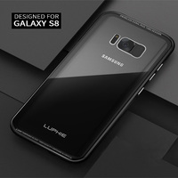 Luphie For Samsung Galaxy S8 Case Aluminum Bumper Metal Frame 9H Tempered Glass Back Cover Set
