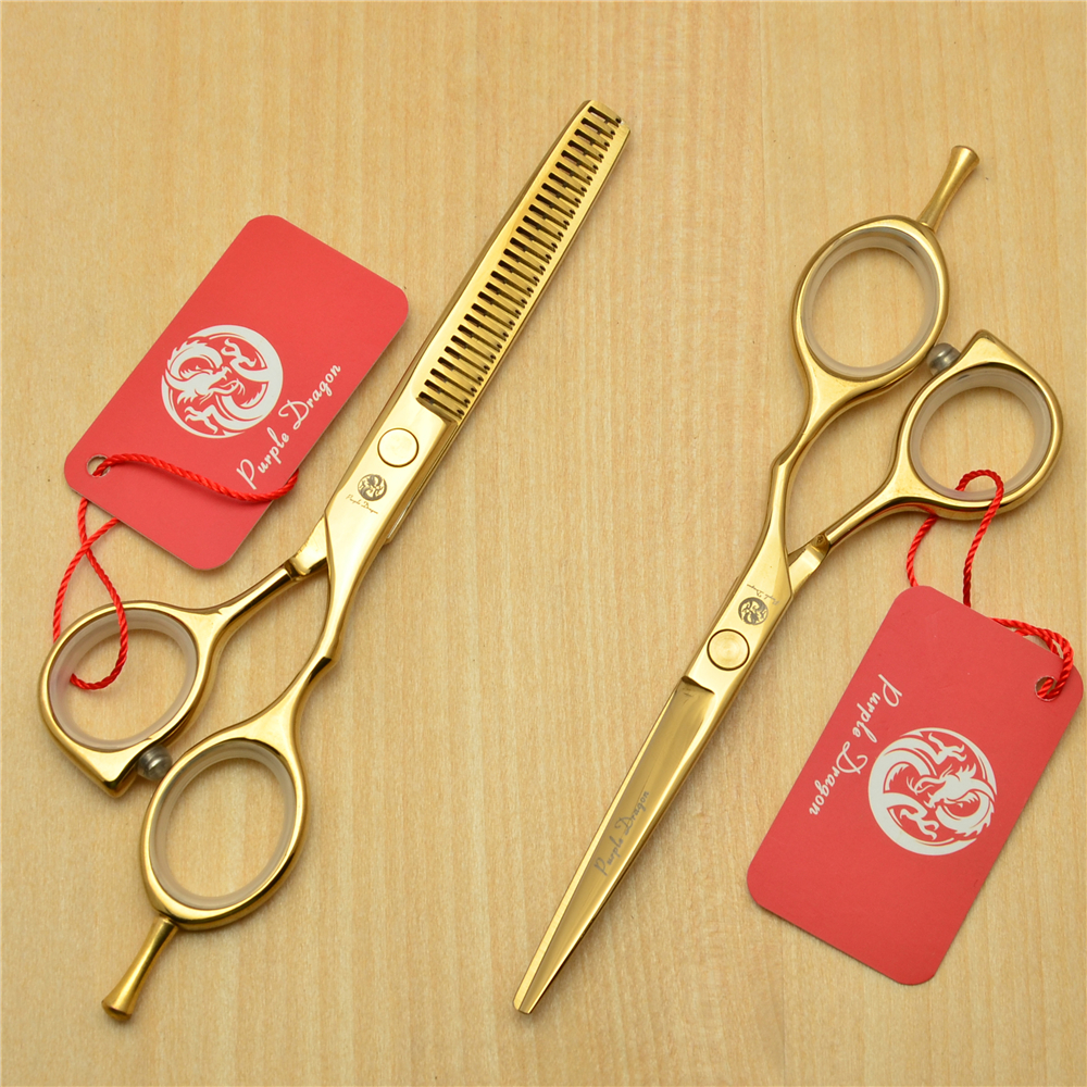 5.5 16cm Purple Dragon 440C Golden Colour Professional Human Hair Scissors Hairdressing Cutting Shears Thinning Scissors Z1014