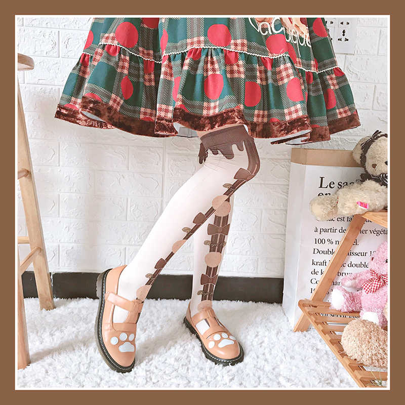 80 d 로리타 양말 여성 콘 인쇄 벨벳 얇은 다리 양말 여름에 무릎 로리타 일본 양말