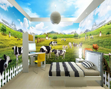 beibehang Decorative Wall paper Three-dimensional Indoor Grassland Ranch Animal World Theme Space Whole House 3d wallpaper
