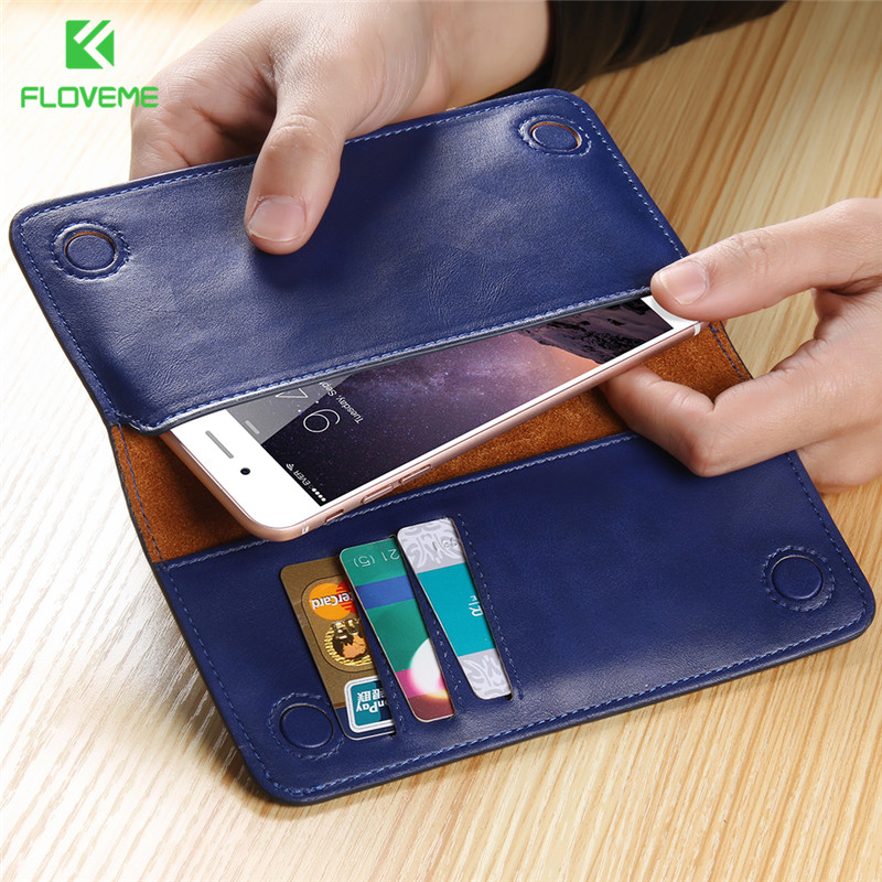 FLOVEME Luxury 5 5 Universal Real Genuine Leather Wallet Pouch Case For iPhone 7 Plus 6