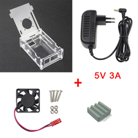 For Orange Pi PC Transparent Acrylic Case 5V 3A DC Power Supply Adapter Cooling Fan Heat