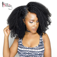 3 Afro Kinky Curly Human Hair Bundles With Closure 4B 4C Brazilian Remy Hair Weave Bundles Closure 4X4 Ever Beauty