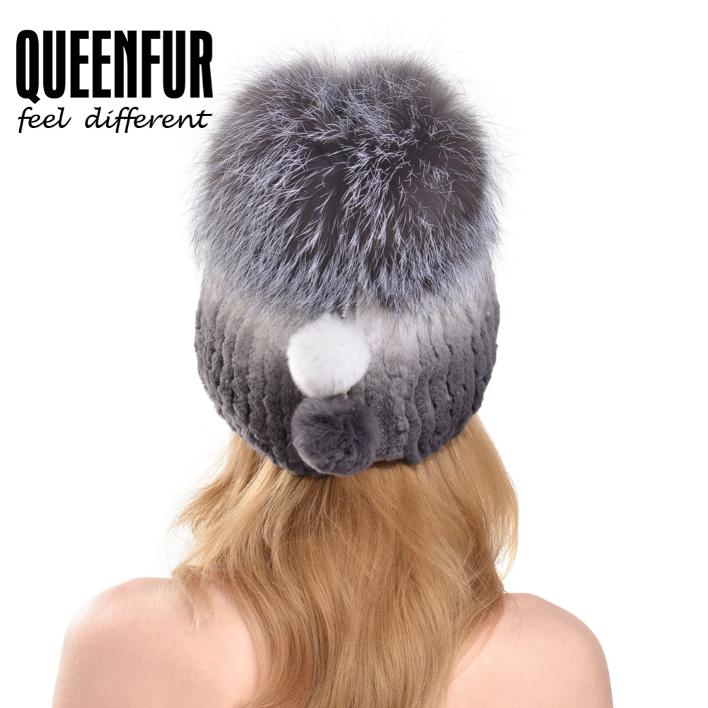 e072f4b6aa6 QUEENFUR Women Fashion Real Rex Rabbit Fur Hat With Silver Fox Fur Big Pom  Poms Beanies 2017 Winter Warm Thick Rabbit Fur Caps-in Skullies   Beanies  from ...