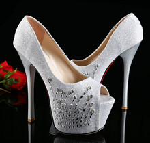 Autumn 2015 new high with fine with the fish head shoes diamond wedding shoes waterproof 15CM nightclub shoes catwalk models