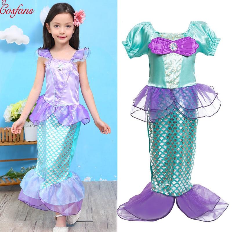 Children Clothes Fancy Girls Dresses the little mermaid tail princess ariel dress Cosplay halloween costume for kids princess