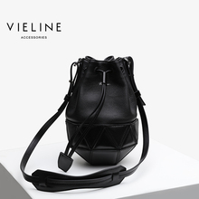 Vieline  women genuine leather bucket bag cow shoulder pineapple ,Design For Milan exhibition