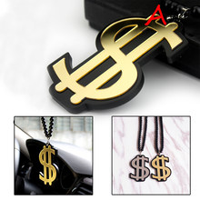 A-HellaFlush Welt 1 pc Emas Dollar Sign Crown Badge Fashion Liontin Mobil-Styling Kaca Spion Menggantung Pesona ornamen Kalung(China)