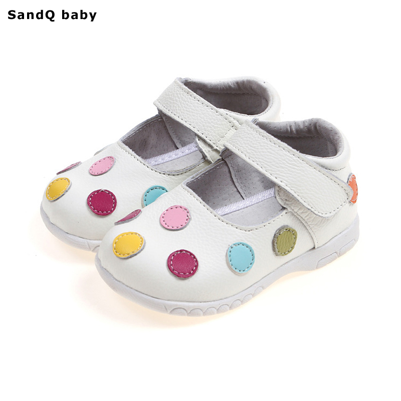 Baby Toddler Shoes 2018 New Spring Genuine Leather Children Shoes for Girls Polka Dot Kids Sandals Girls Princess Shoes