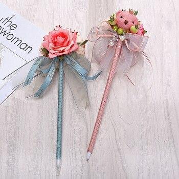 24PCS New Valentine's Day Korean Signature Pen Creative Flower Bear Ballpoint Pen Handmade Gift Pen Wholesale
