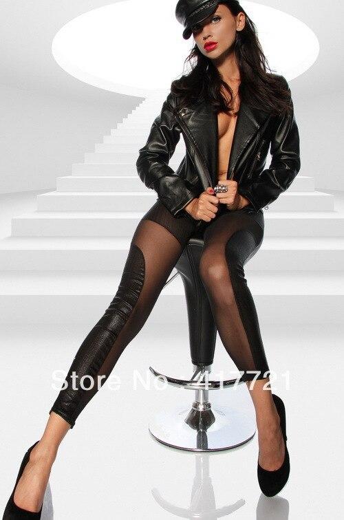 Girls Leather Look Leggings
