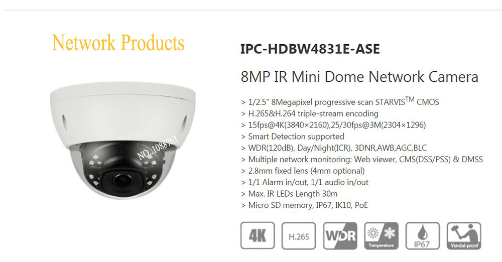 Free Shipping DAHUA CCTV IP Camera 4K 8MP IR Mini Dome Network Camera IP67 IK10 With POE without Logo IPC-HDBW4831E-ASE free shipping dh security ip camera 2mp 1080p ir mini dome network camera ip67 ik10 with poe without logo ipc hdbw4231f as