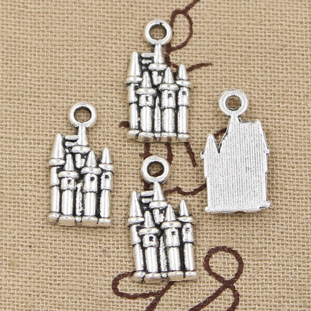10pcs Tibetan Silver Charms Castle Building Beads Pendant DIY 16*23mm