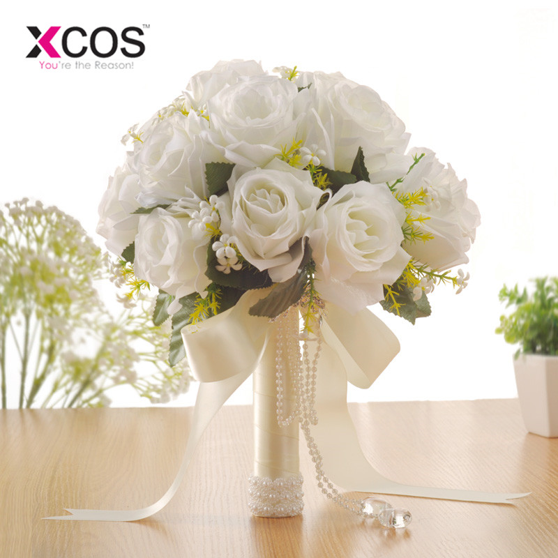 XCOS Artificial White Flower Bouquet Wedding Bouquet De Mariage Handmade Leaves Pearl Flowers Bridesmaid Wedding Bouquets