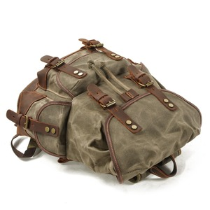 Image 4 - M272 Vintage Canvas Lederen Rugzakken Voor Mannen Laptop Daypacks Waterdichte Canvas Rugzakken Grote Waxed Bergbeklimmen Travel Pack
