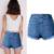 Olrain 2016 Novas Mulheres Da Moda 3D Flores Impressão Bordados Buraco Jeans Rasgados De Cintura Alta Shorts Jeans