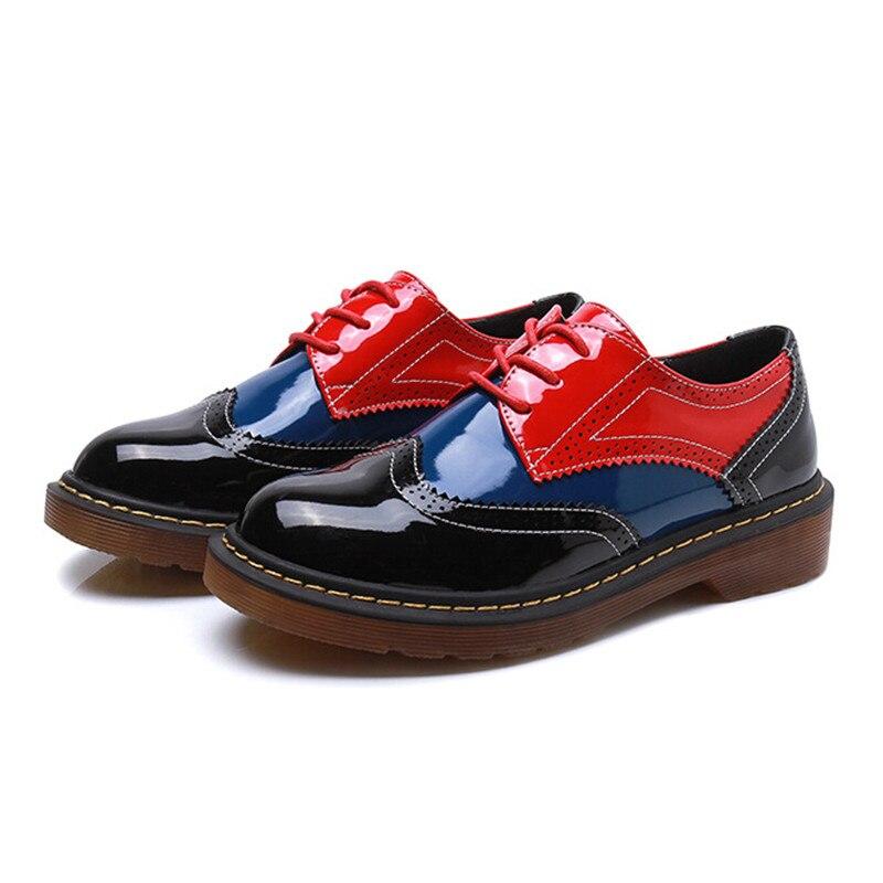 осень 2017 г. осенние туфли-оксфорды женские в винтажном стиле женская обувь на плоской подошве с круглым носком дерби ботильоны дамские туфли английского стиля обуви femmer