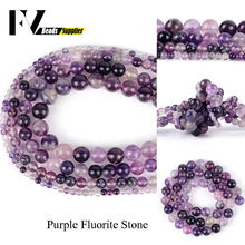 Natural Minerals Stones Purple Fluorite Round Beads Diy Jewellry 4 6 8 10mm Gem for Jewelry Making Bracelet Accessories