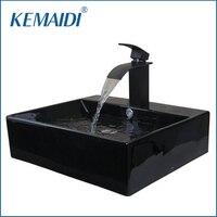 KEMAIDI Bathroom Ceramic ORB Sink Washbasin Ceramic Waterfall Small Basin Tap Lavatory Bath Combine Brass Set Tap Mixer Faucet