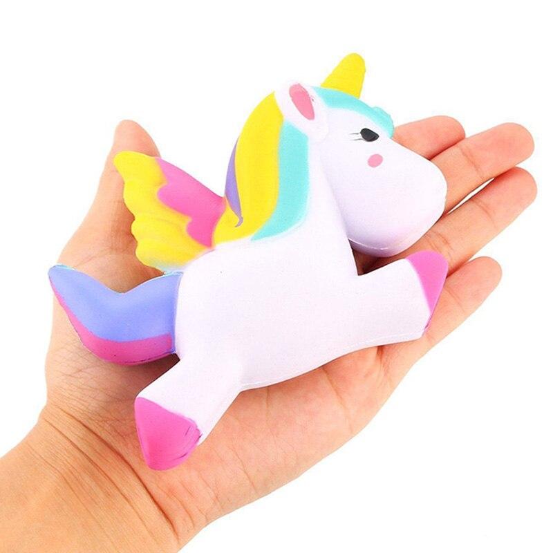 13.5CM Simulation Flying Unicorn Pony Horse Squishy Toys Slow Rising Squeeze Doll Fun Jokes ...