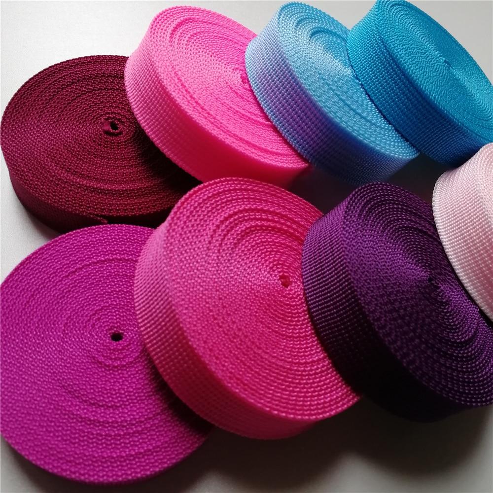Polypropylene Webbing 20mm Wide 5 Yards Black Rose Pink For Bags Sewing Belt Webbing Strapping Braided Strap Garment Shoes