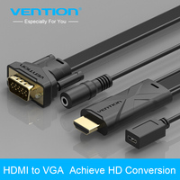 Vention HDMI To VGA 1080P Adapter Digital To 3 5mm Audio Converter With Power Supply For