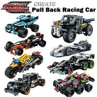 Decool puxar para trás técnica carro racer moc caminhão diy blocos de construção crianças brinquedos para crianças tijolos supercar presentes natal
