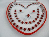 Favorite Gift Women S Jewellery Red Ruby White Gold 18k Necklace Set Box Sz 8